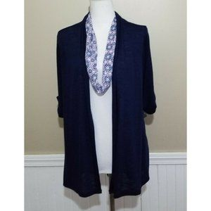 Kim Rogers Blue Women Cardigan Blouse With Scarf
